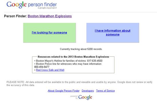 Página do Google para postar informações sobre as explosões em Boston